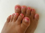 gel nail pedicure with 3d flowers