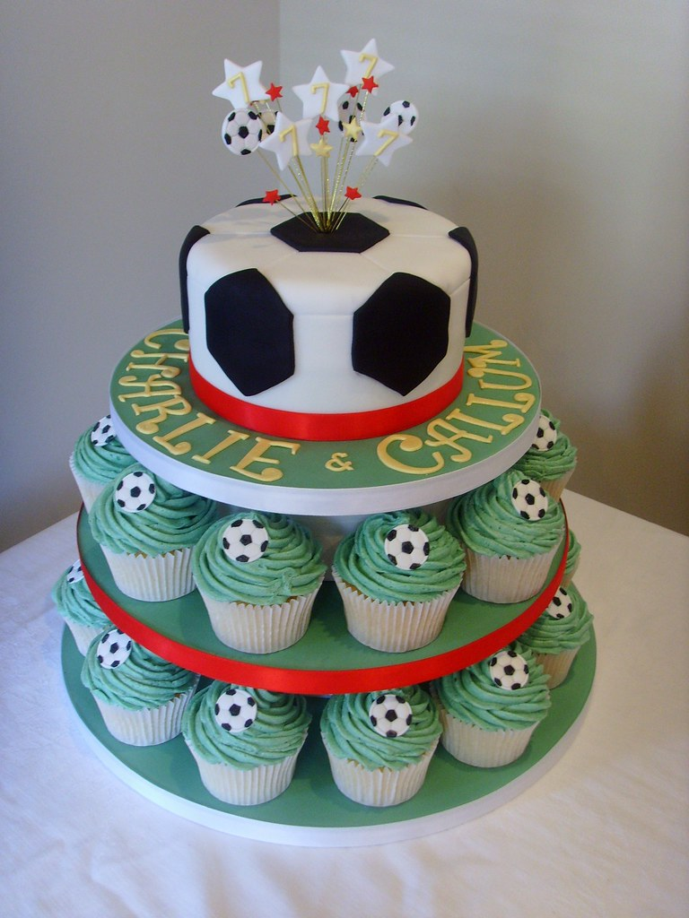 Football Themed Cupcake Tower  Football themed cupcakes