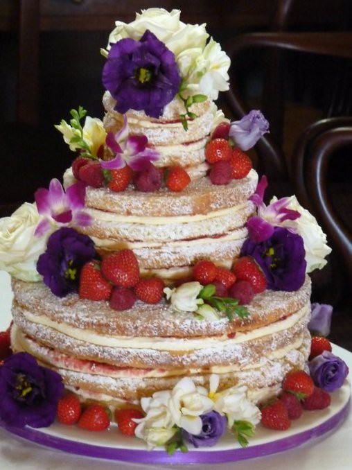 Victoria Sponge Wedding Cake With Fresh Flowers And Fruit