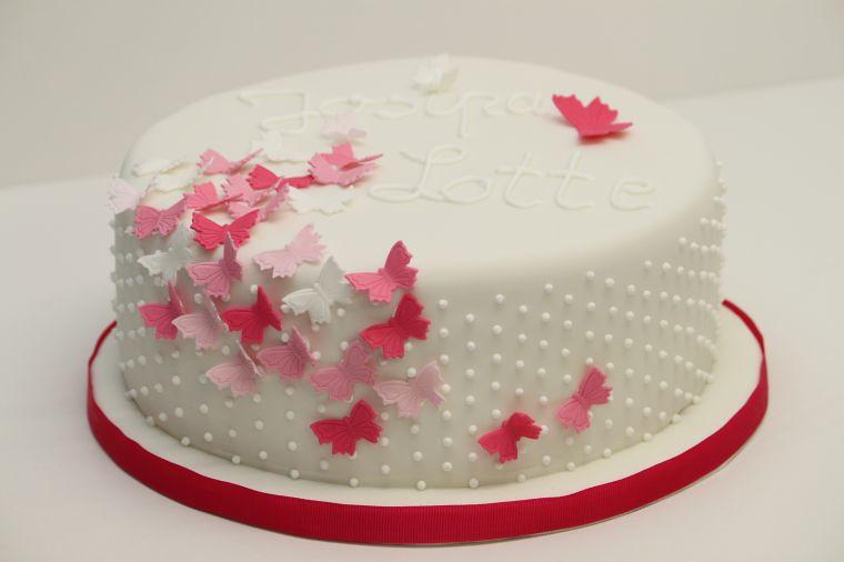 Tauftorte mit Schmetterlingen rosa pink  wwwsuessund