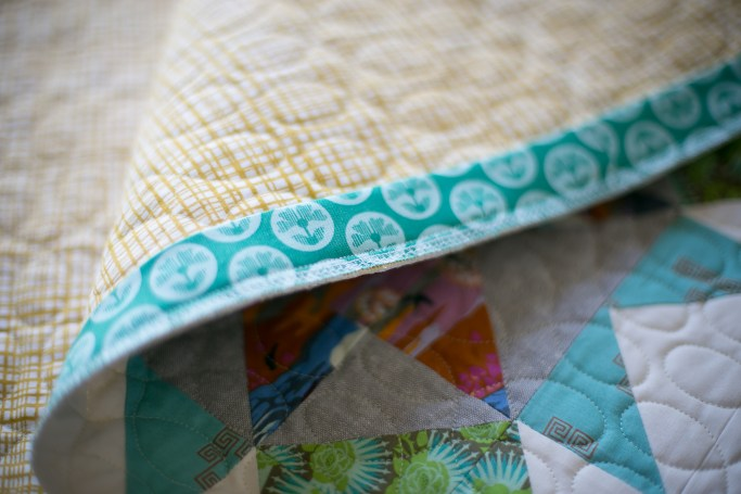 Wedding quilt - serged binding