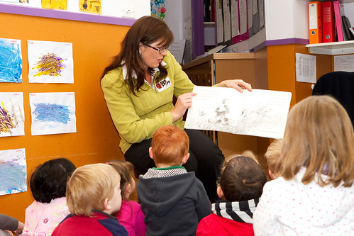Kate reads to the children for the Big Steps Childcare Cam