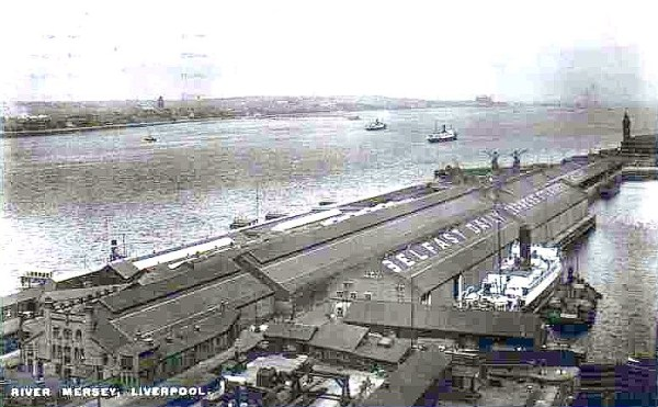 Liverpool Postcard View over Riverside Station towards t