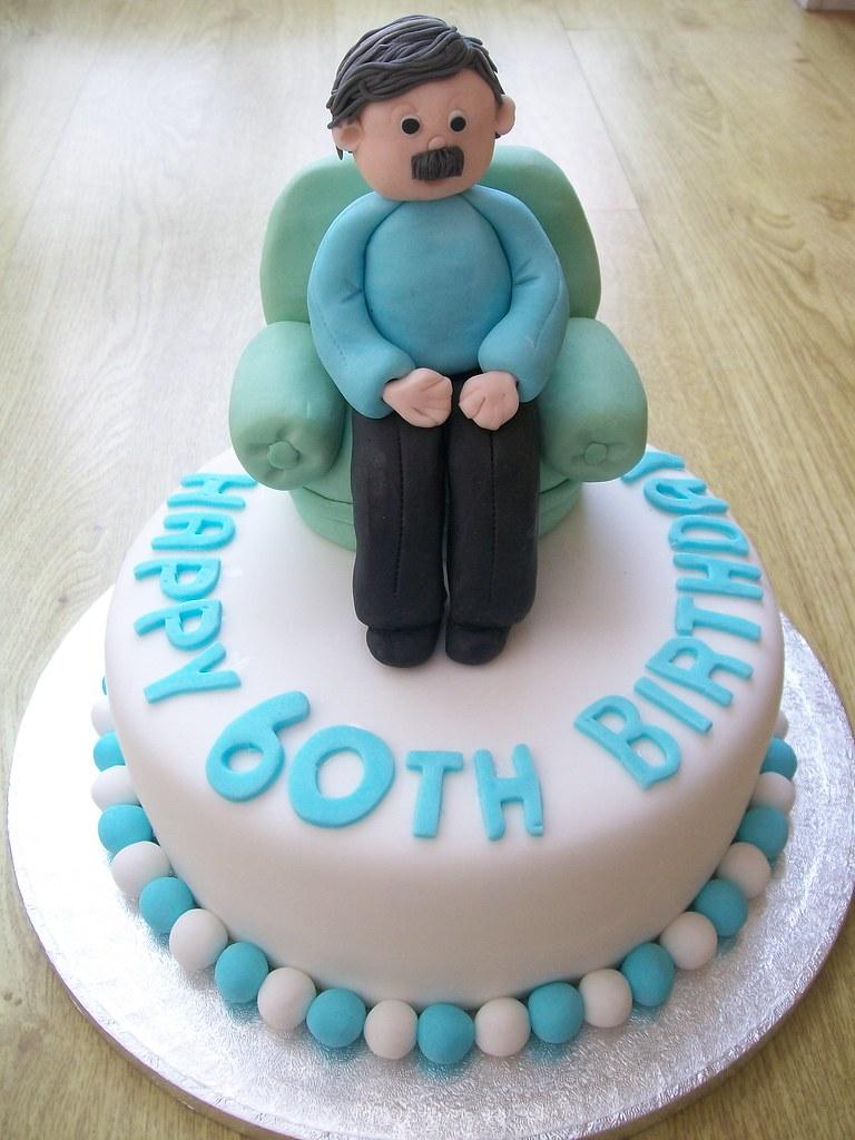 Man In Armchair Cake Topper 60th Birthday Cake Cakeebake