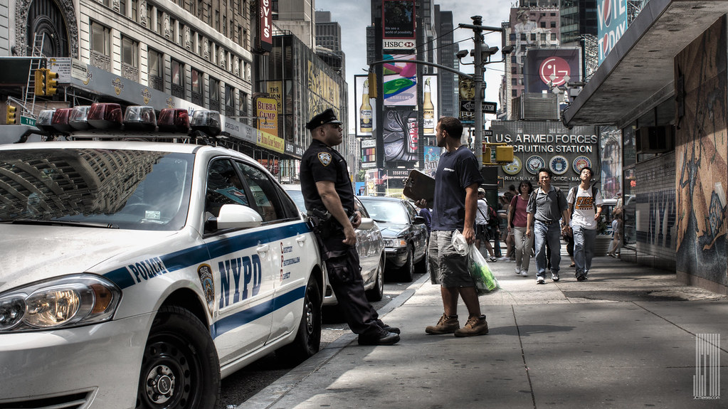 Nypd Times Square Stinking Hot Day In Nyc Hand Held