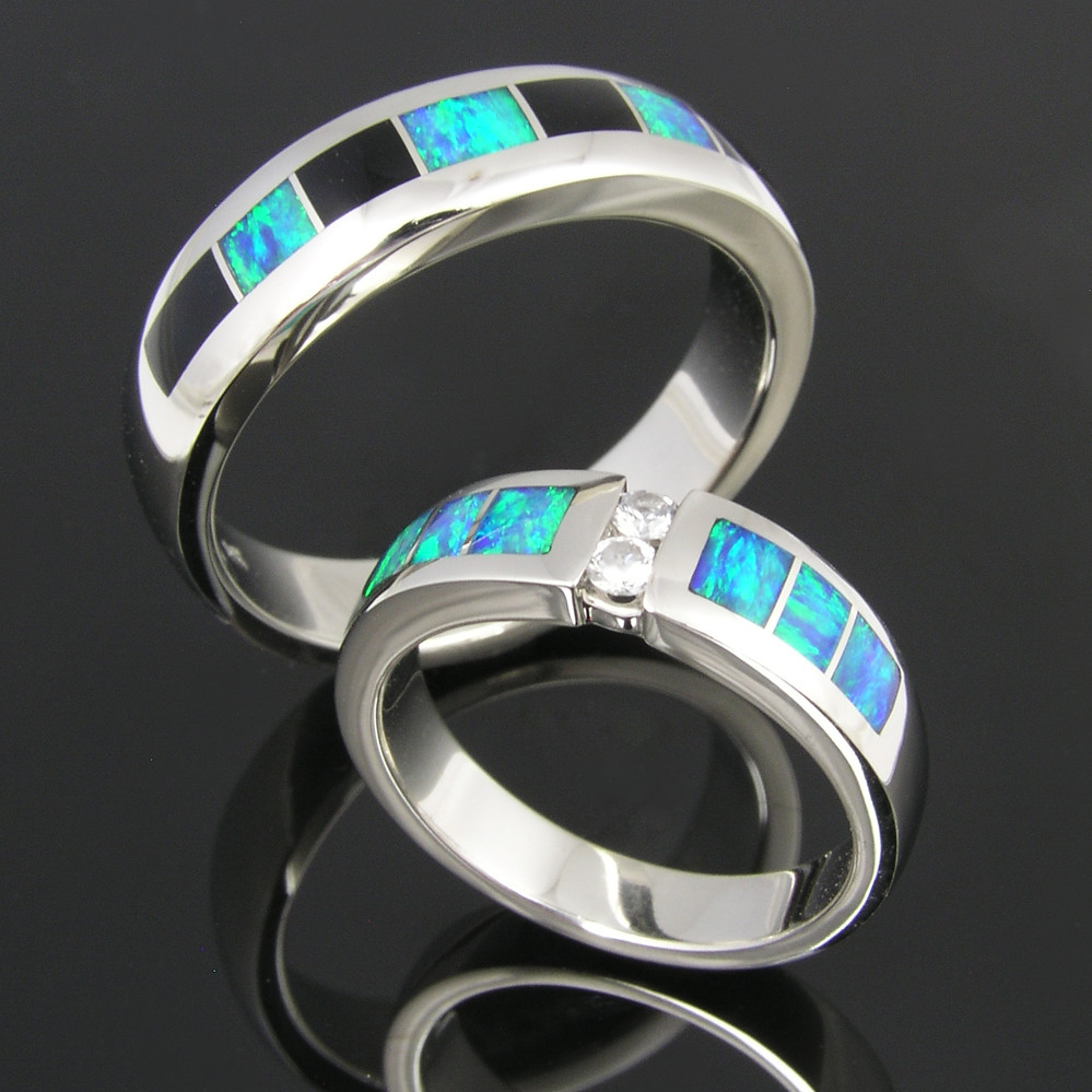 Hileman Australian opal inlay wedding ring set  His14k