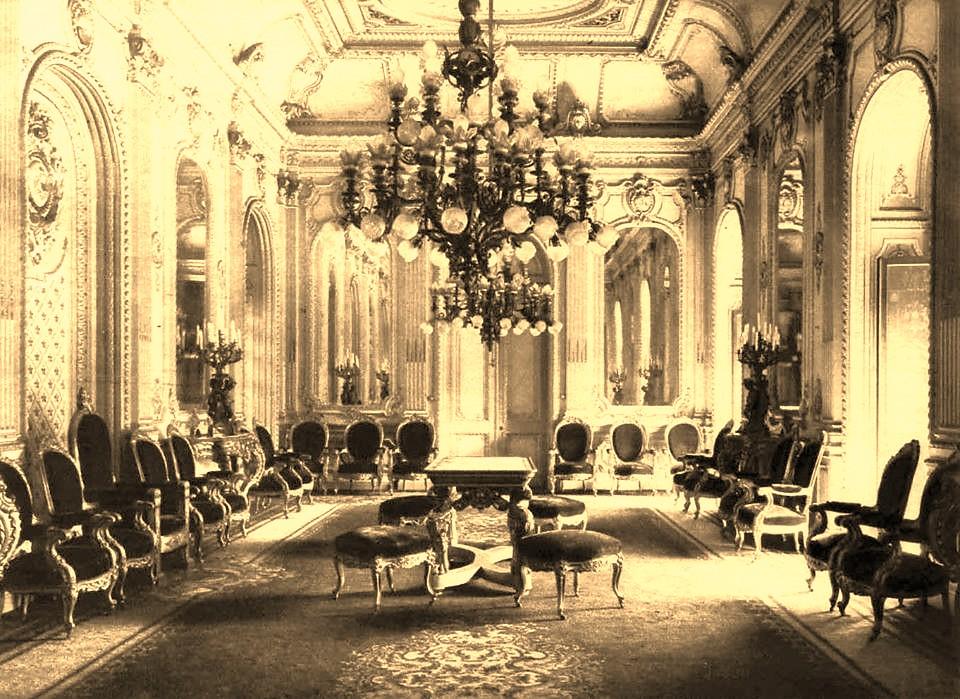 Palacio de La Moneda salon Rojo interior 1900  En el