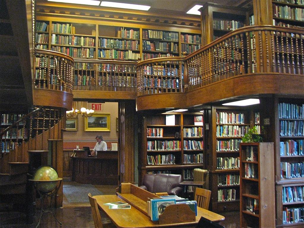 3d Street Wallpaper St Johnsbury Athen 230 Um 1871 Interior Library Stacks D
