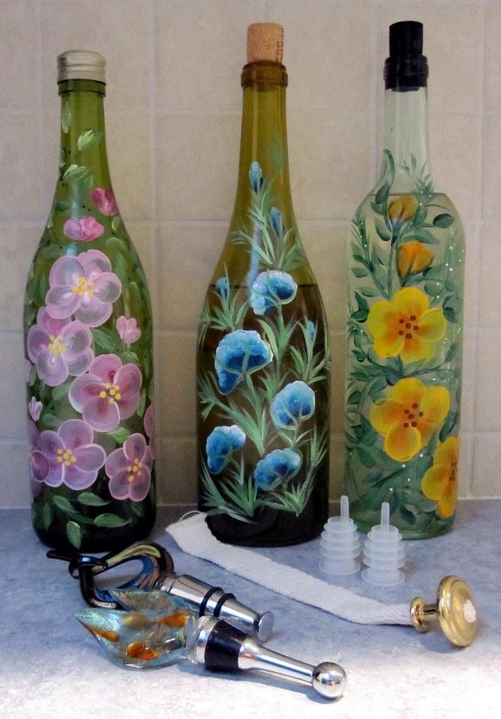 Handpainted Wine Bottles  Wine bottles handpainted with