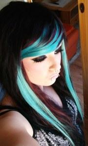 emo scene hair blue and black