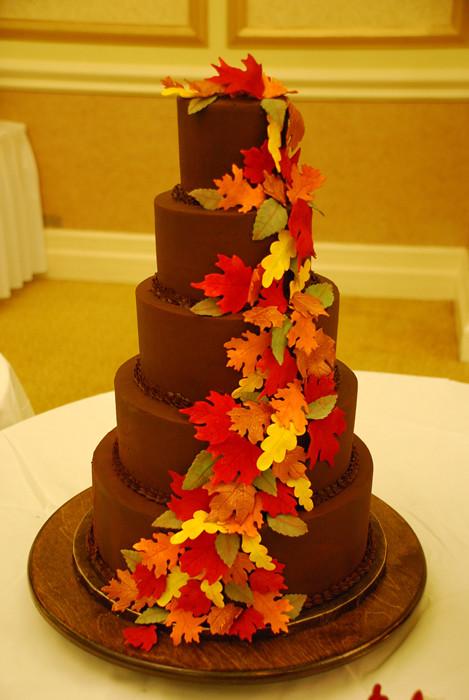 Ganache 5 Tier Fall Leaves Wedding Cake  A 5 tier Chocolate  Flickr