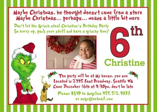 Grinch Seuss Winter Holiday Custom Christmas Birthday Pa