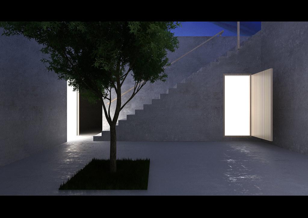 Casa en la Sierra de Arrbida 2  Render nocturno_Casa