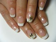 gel nail simple french with accent