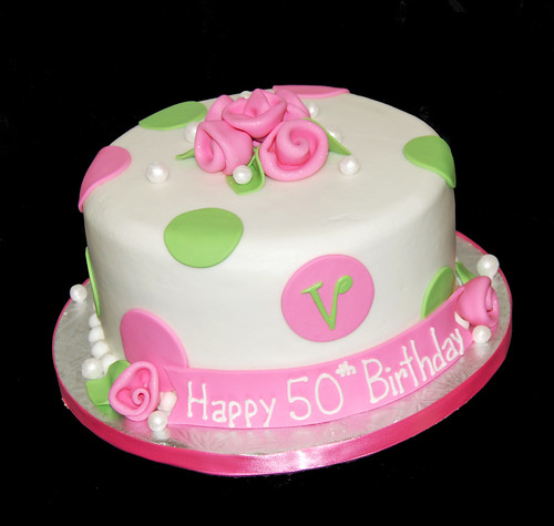pink and green polka dot 50th birthday cake with monogram  Flickr