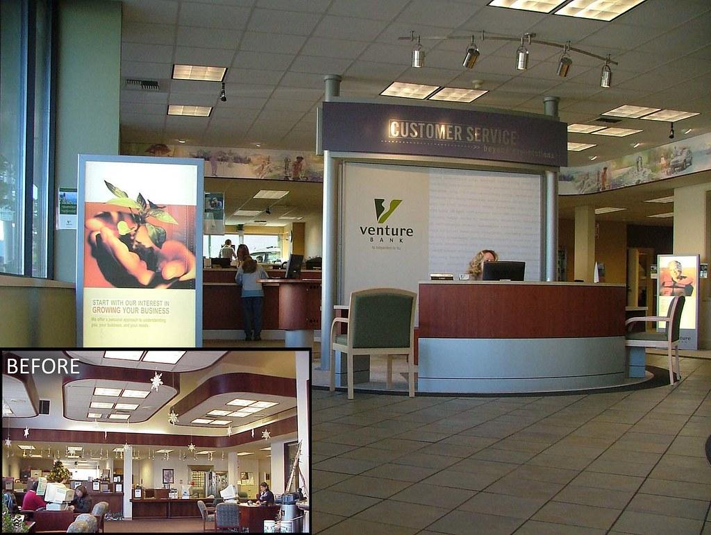 AFTER Interior Bank Upgrade  Customer Service Kiosk  Ban