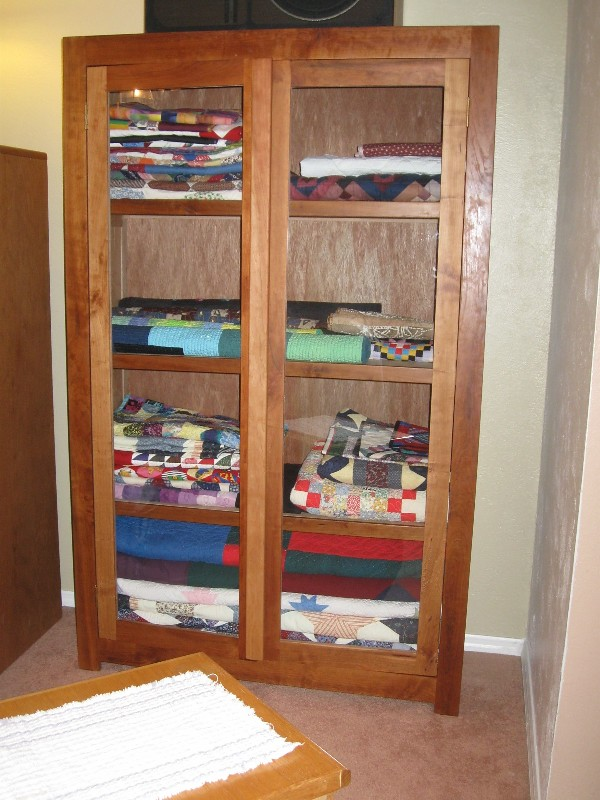 Homemade Cherry Wood Quilt Display Cabinet  FRONT VIEW My
