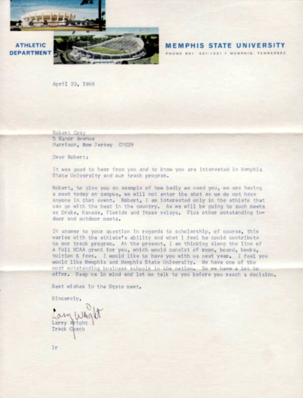 1968 Memphis State University Track Athletic Scholarship L… | Flickr