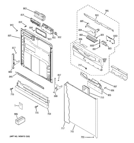 Breakdown diagram, door and controls section, GE GLD4460N1