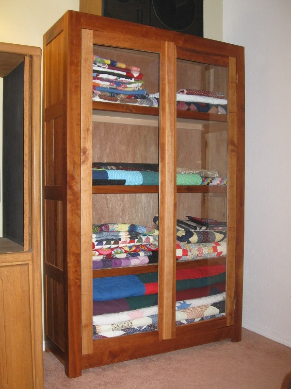 Homemade Cherry Wood Quilt Display Cabinet  SEMI  SIDE
