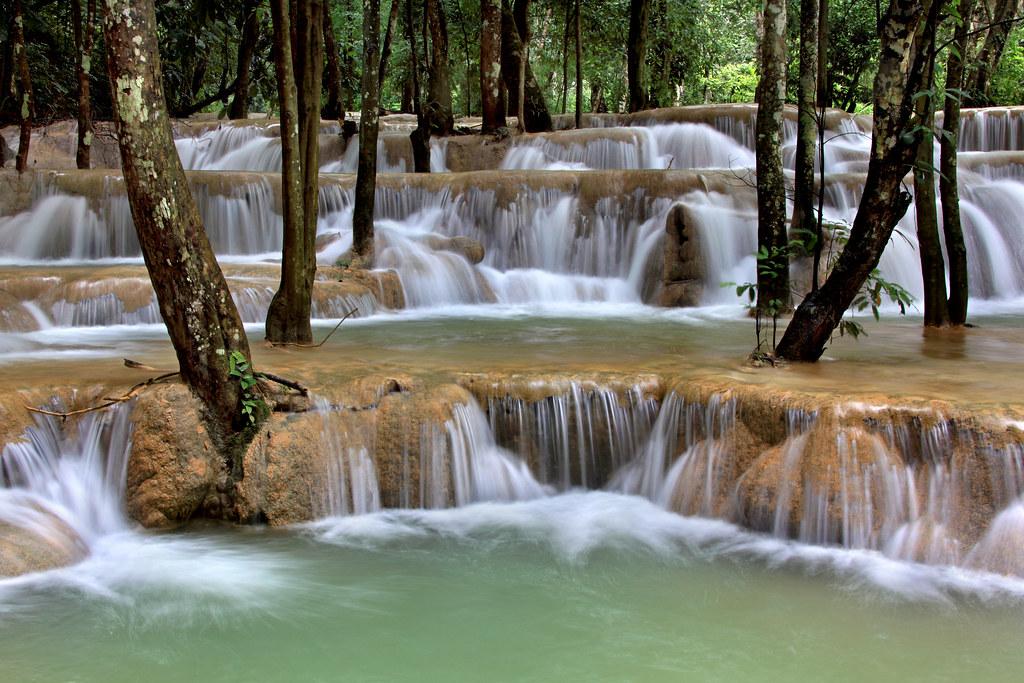 Wallpaper Falling Water Tad Sae Waterfall The Tad Sae Waterfall Near Luang