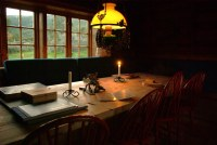 Dindalshytta, candle and oil lamp lit living room | Herman ...