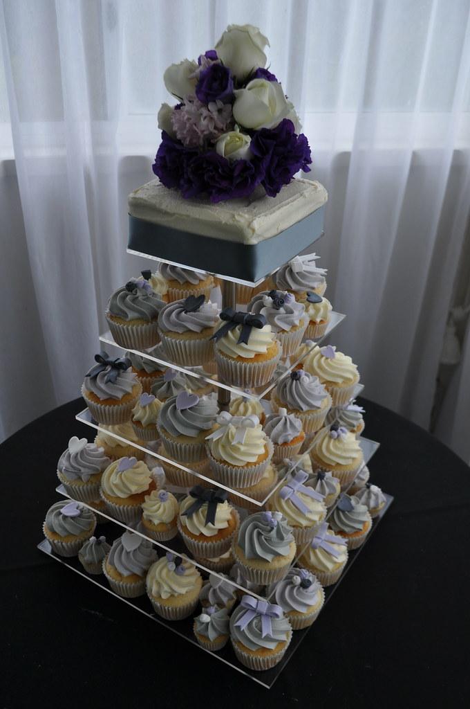 Lilac pale grey and silver wedding cupcakes  Vanilla vanil  Flickr
