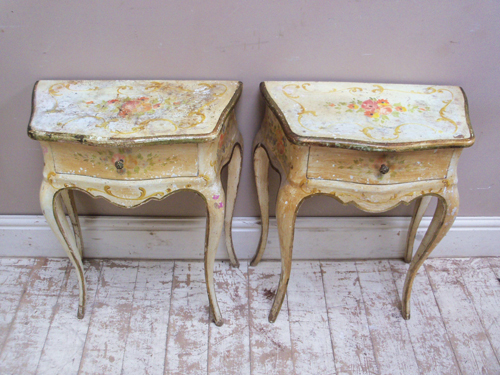 vintage french bedside tables  pair of vintage french