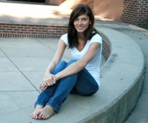 Beautiful Women Blue Jeans Barefoot