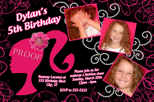 Barbie Silhouette Head Hot Pink Black Birthday Invitation