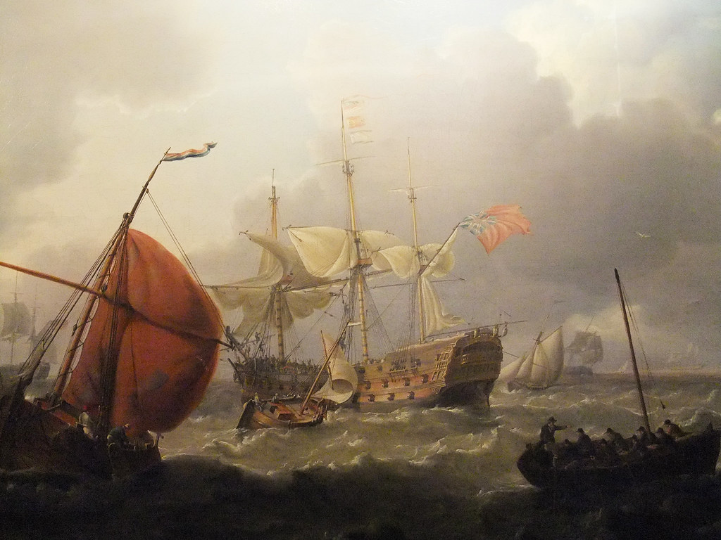 British ManOWar with Dutch Sailing Vessels in a Choppy S