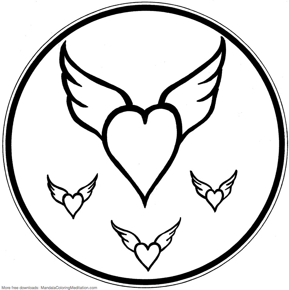 Printable children coloring page: flying heart mandala