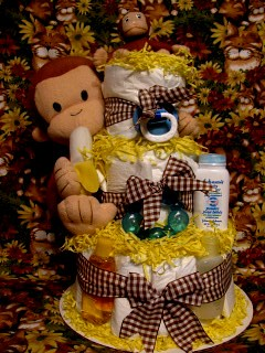 Curious George Baby Diaper Cake Shower Centerpiece Gift 1