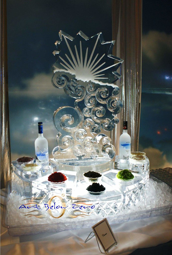 Silver Lining Caviar Station ice sculpture  www