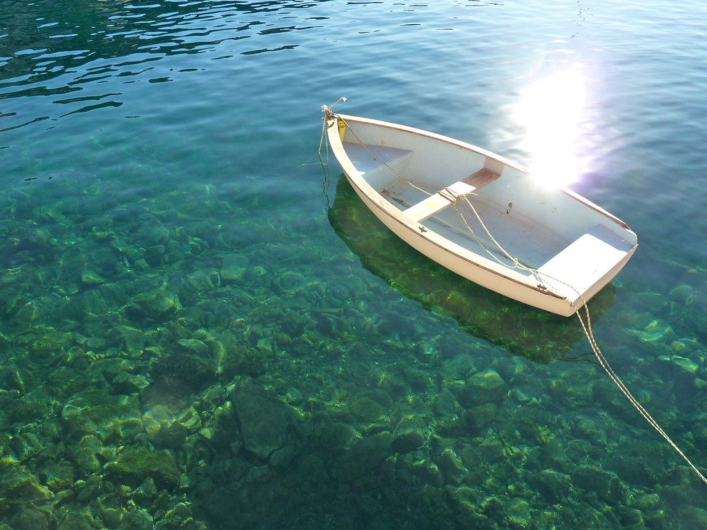 White Rowboat Clear Water Villefranche France Mark