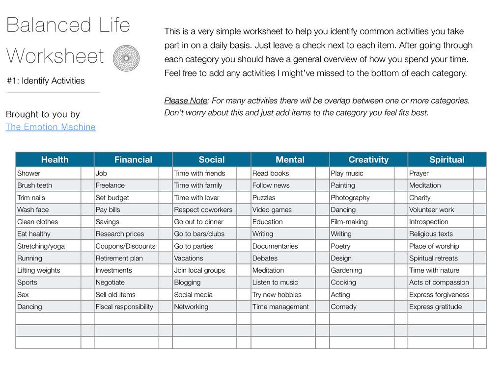 Balanced Worksheet 1