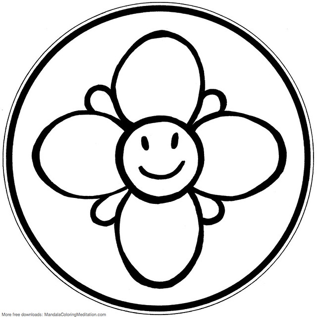 Printable children coloring page: smiley flower mandala