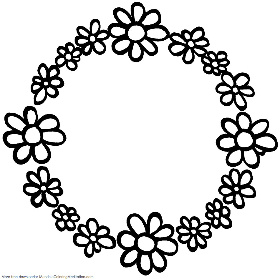 Printable children coloring page: flower circle mandala