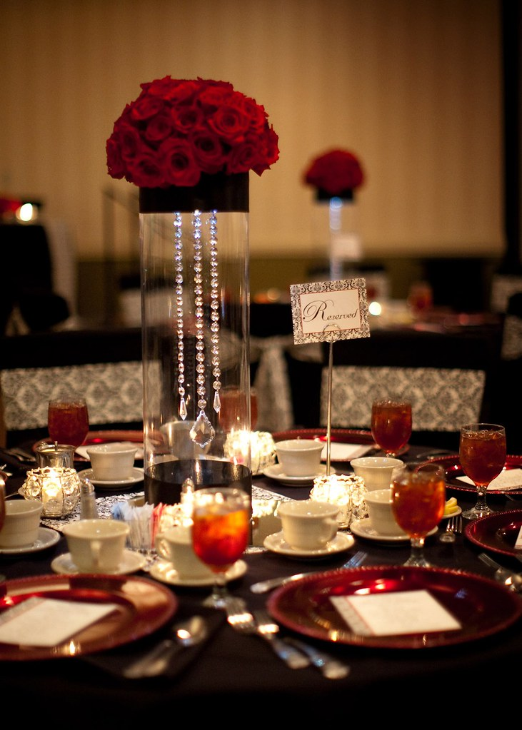 Gorgeous Centerpiece for Black White and Red Wedding  Flickr