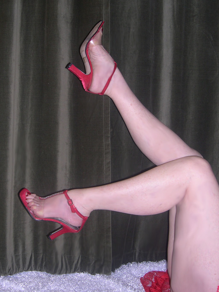 Me red silk sandals nude legs lace slip  If i have a