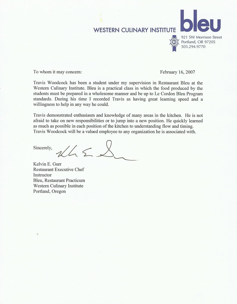 chef reference letter