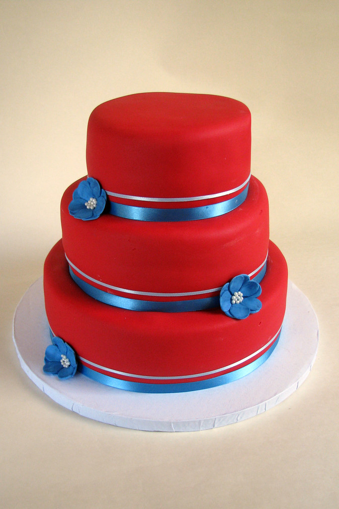 Red and Blue Wedding Cake  I had free reign with this cake  Flickr