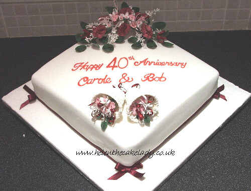 ruby wedding anniversary cake  Square 40th ruby anniversary  Flickr