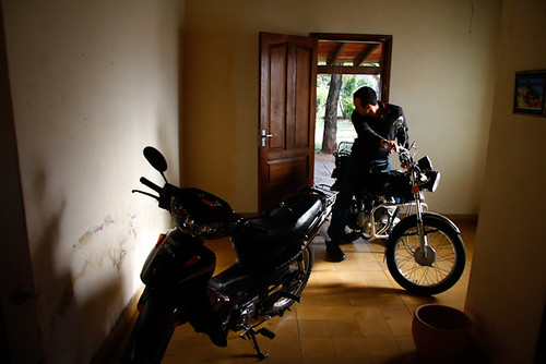 Cristian Jara rides his motorcycle inside his house  Flickr
