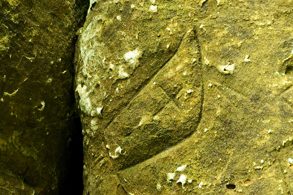 Petroglyph in rock at the cave at Indian Cave State Park, Nebraska