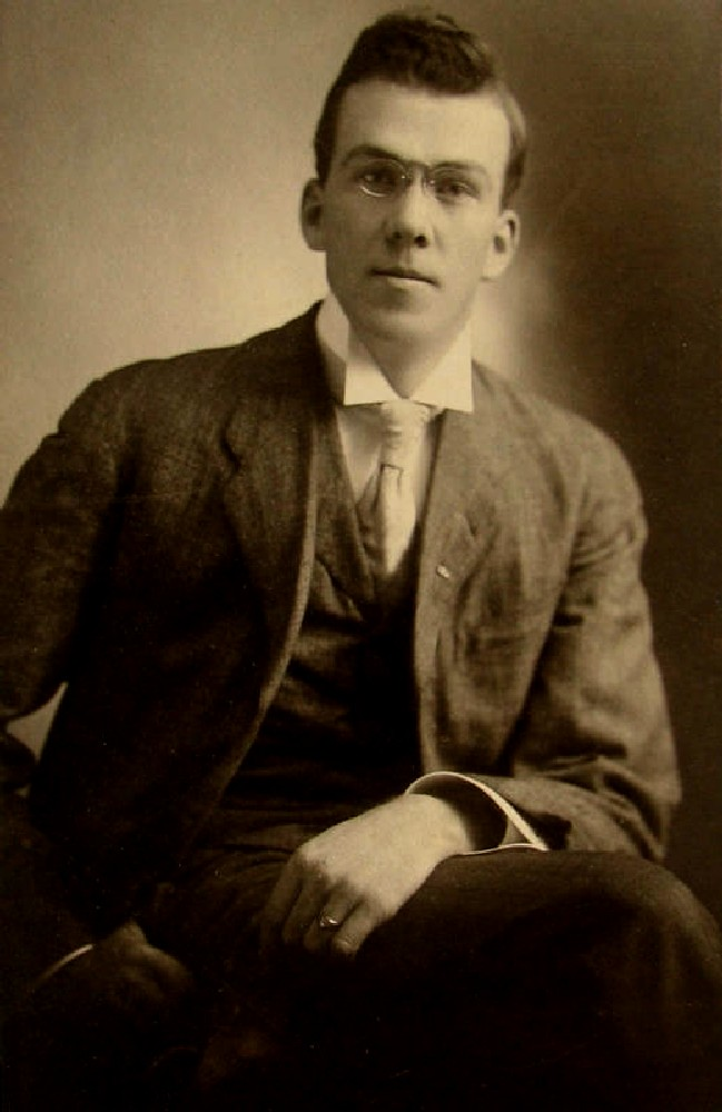 young man USA c 1890s portrait  He is wearing a rimless
