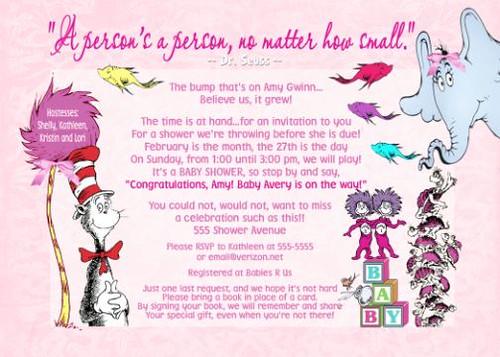 Dr Seuss Pink Girl Baby Shower Invitation Dr Seuss Pink