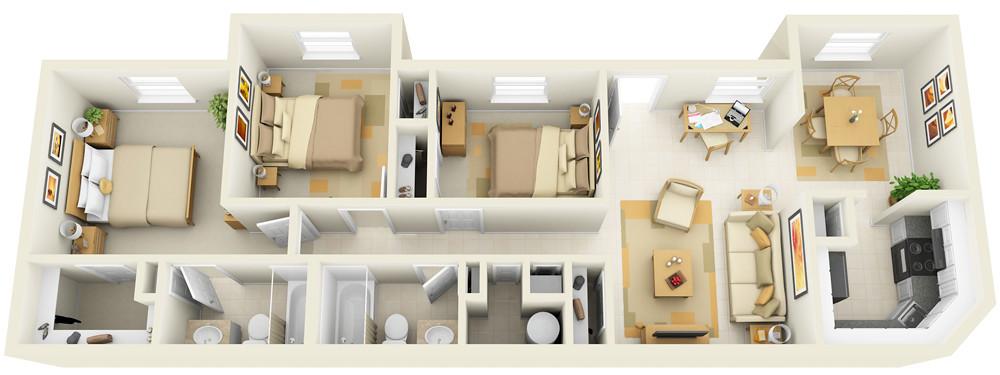 3 Bedroom  3D Floor Plan for Websites  Downloading  Flickr