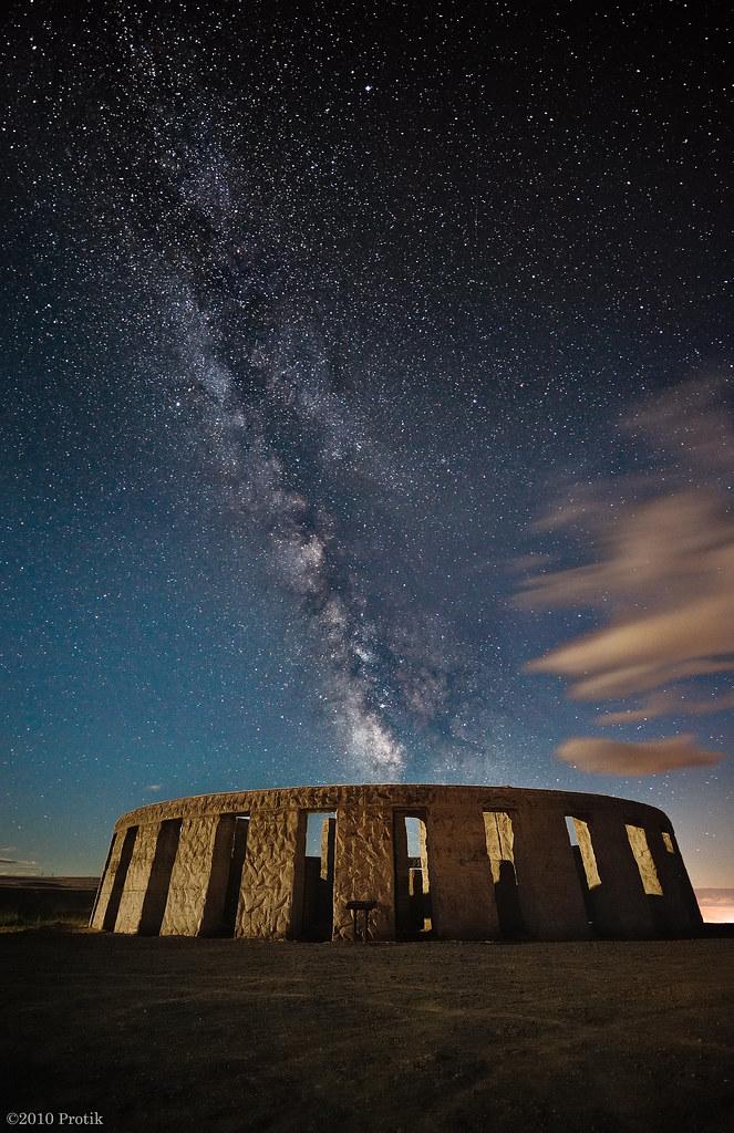 Moonlit Stonehenge under Milky way  View LARGE on black