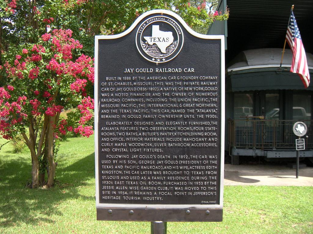 Jay Gould Railroad Car Jefferson Texas Historical Marker